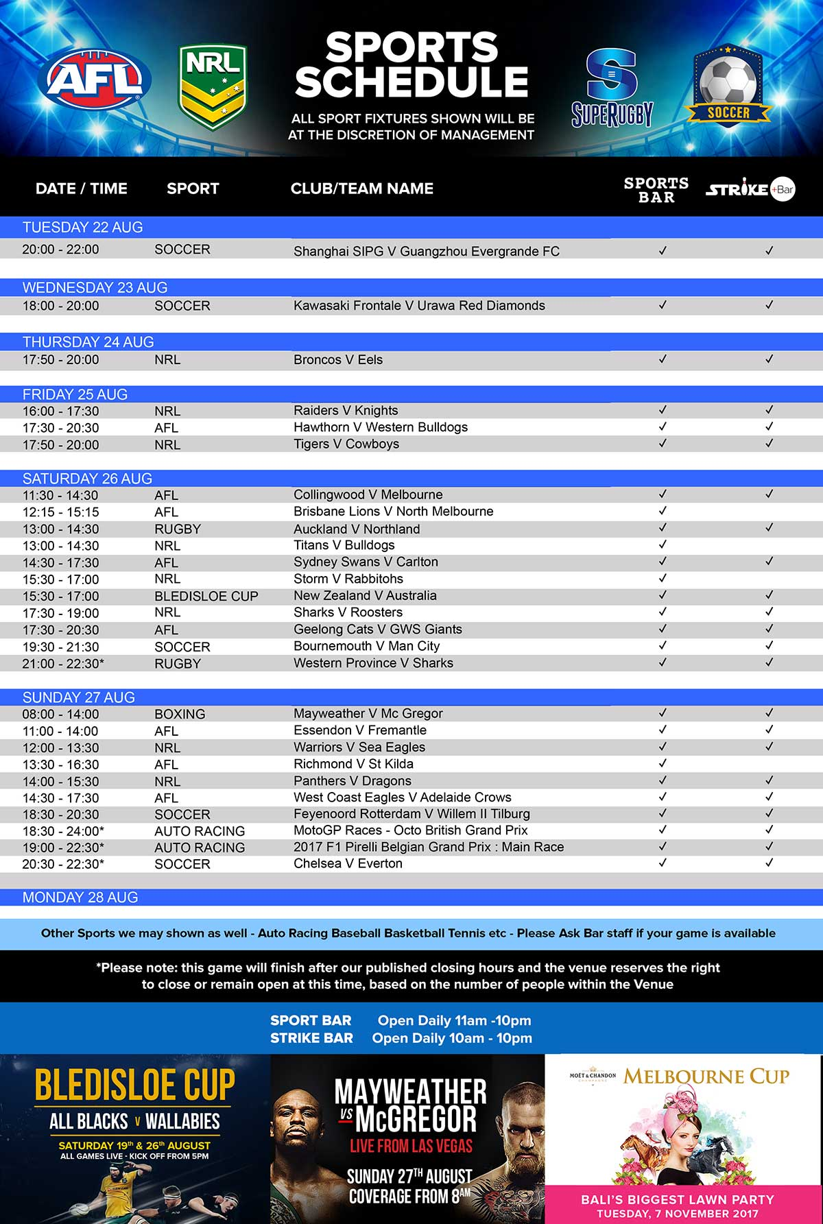 Live Sport Schedule at Finns Recreation Club - Bali